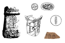 Depictions of yew on ancient religious items from the Pyrenees (Celtic), Crete, Syria-Canaan, the Peloponnese (Hellenistic Greek) and Nineveh (Assyria, modern north Iraq). (From Hageneder 2007)